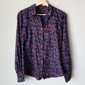J Crew 100% Silk Perfect Shirt in Cobalt Leopard